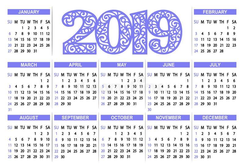在白色背景的日历2019年.图片