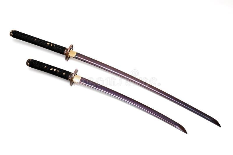 在白色背景的日本剑 免版税库存图片