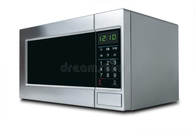 在白色背景的时髦的微波炉 库存照片