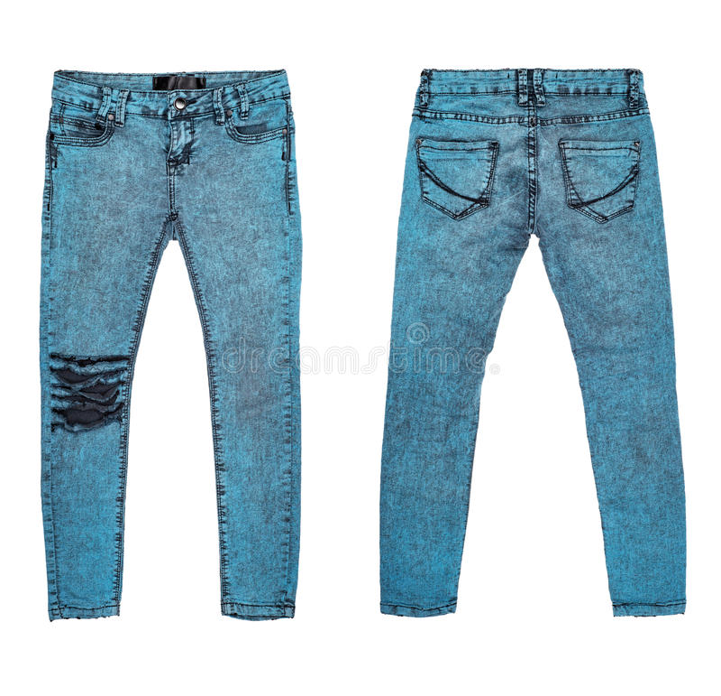 在白色背景的时髦的难看的东西牛仔裤 库存照片