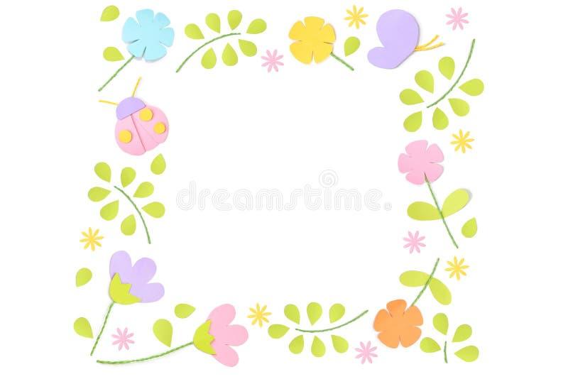 在白色背景的春天方形的框架纸裁减 皇族释放例证