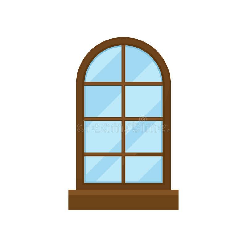 在白色背景的曲拱类型窗口 空白房子门面 向量例证