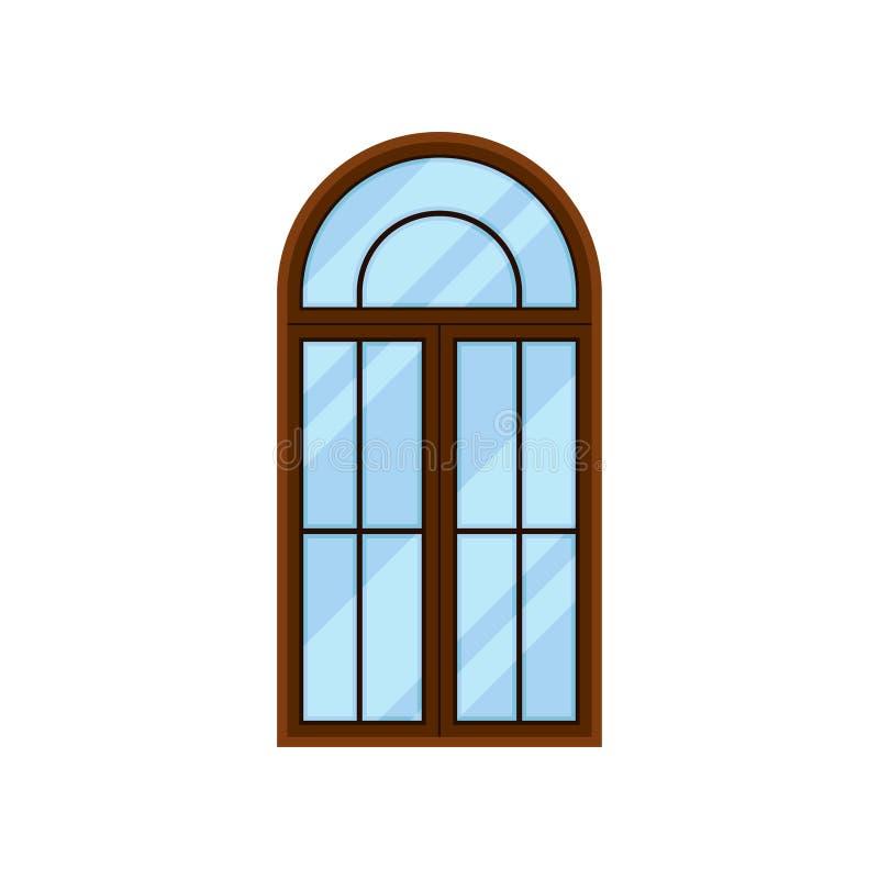 在白色背景的曲拱类型窗口 议院门面 向量例证