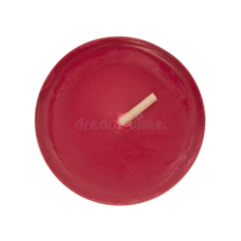在白色背景的有气味的茶光蜡烛 图库摄影