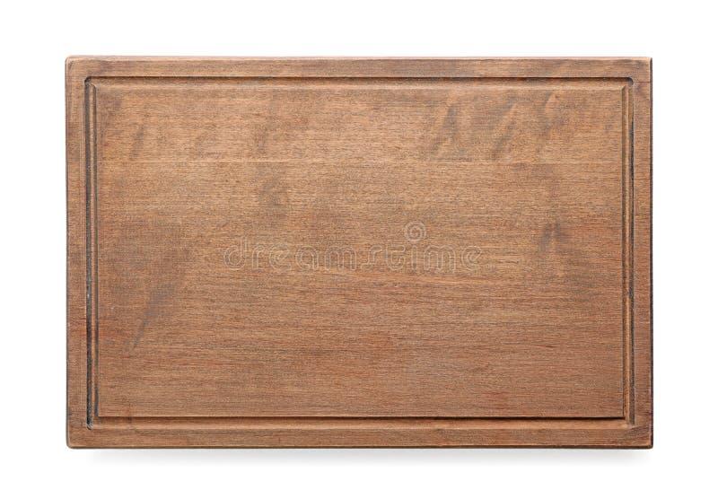 在白色背景的木切板 库存图片
