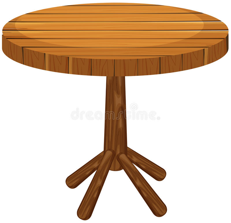 在白色背景的木圆桌 库存例证
