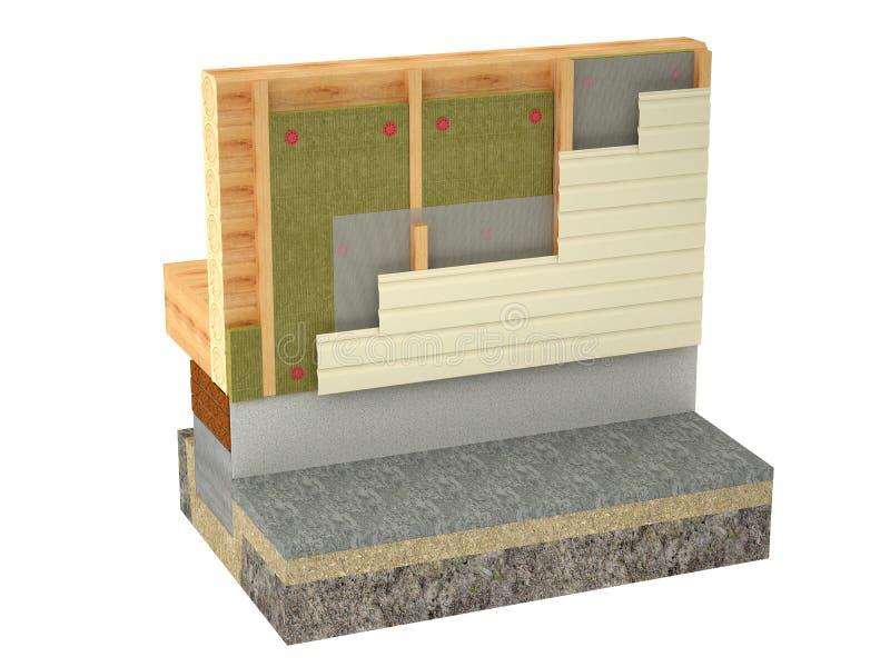 在白色背景的木屋绝缘材料 免版税库存图片