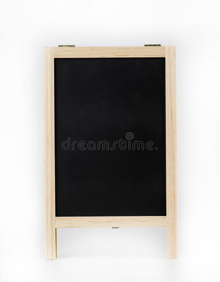 在白色背景的木黑板 免版税库存照片