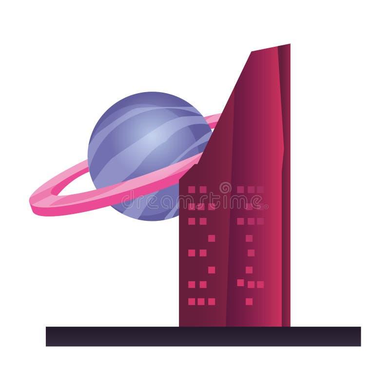 在白色背景的未来派修造的行星 库存例证