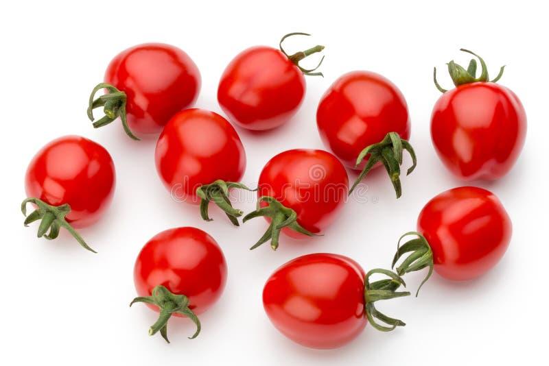 在白色背景的李子西红柿 顶视图 免版税图库摄影