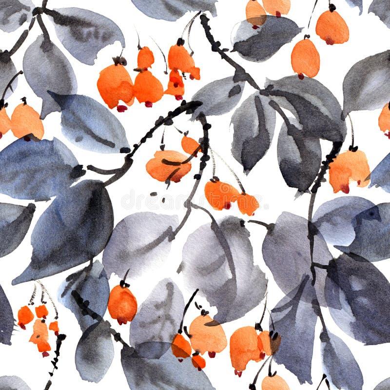 在白色背景的树和莓果样式 库存例证