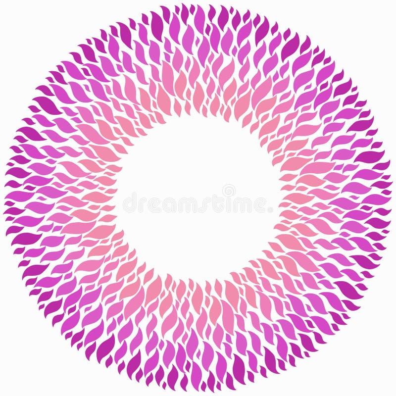 在白色背景的桃红色圆的框架 库存例证