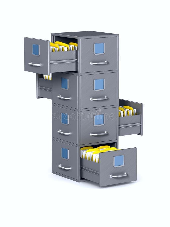 在白色背景的档案橱柜 被隔绝的3d例证 向量例证