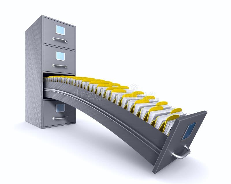 在白色背景的档案橱柜 被隔绝的3d例证 库存例证