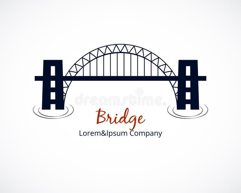 在白色背景的桥梁商标图形设计 向量例证