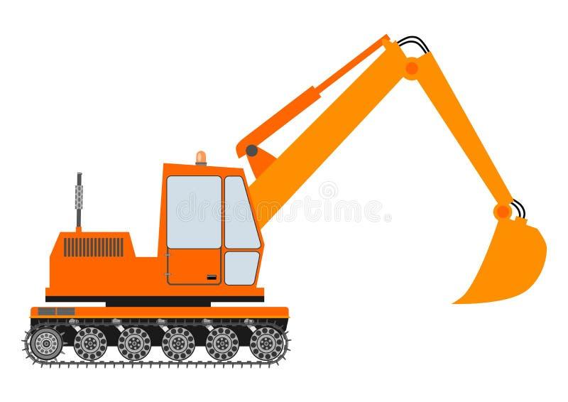 在白色背景的橙色挖掘机 库存例证