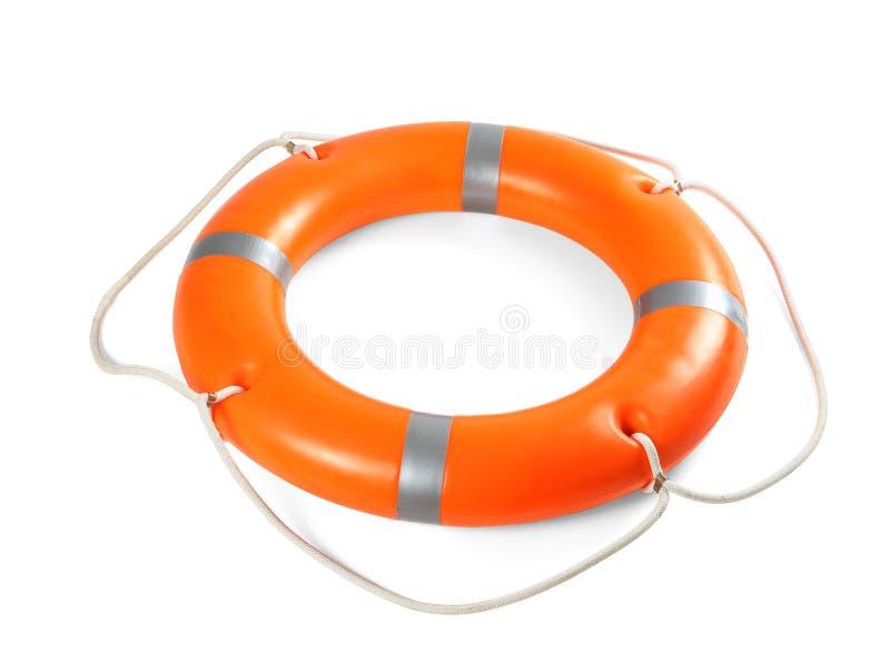 在白色背景的橙色救生圈 免版税库存照片