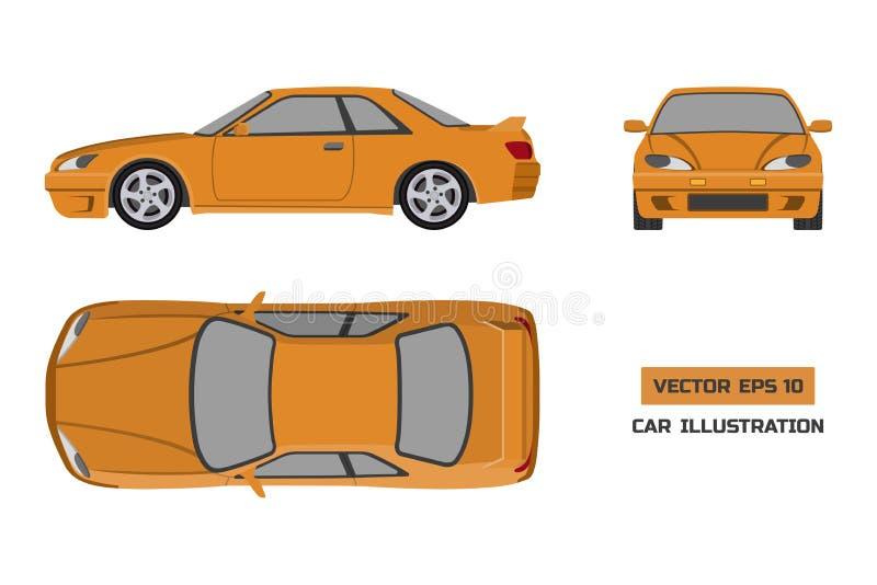 在白色背景的橙色汽车 上面,前面和侧视图 在平的样式的车 皇族释放例证