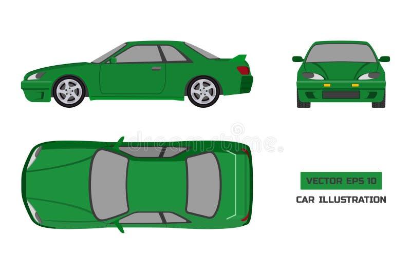 在白色背景的橙色汽车 上面,前面和侧视图 在平的样式的车 向量例证