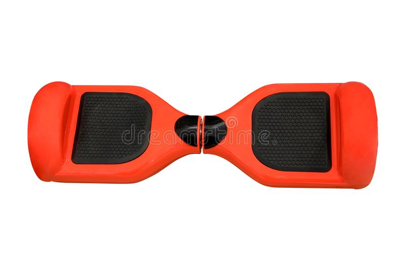 在白色背景的橙色hoverboard 免版税库存图片