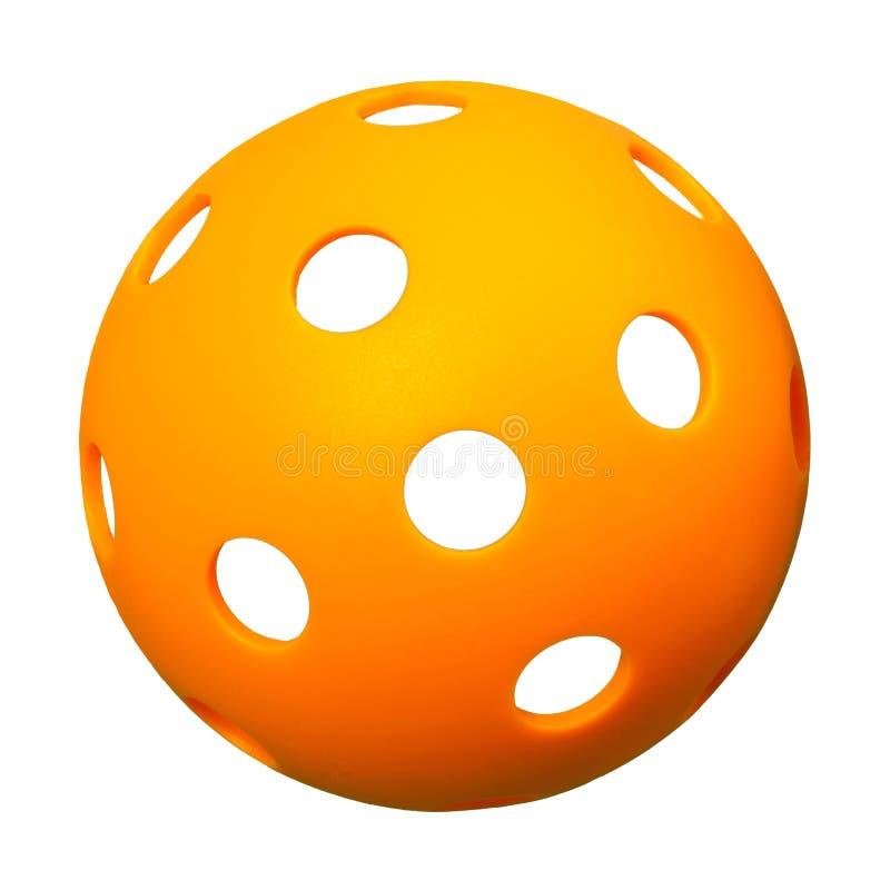 在白色背景的橙色Pickleball 免版税库存照片