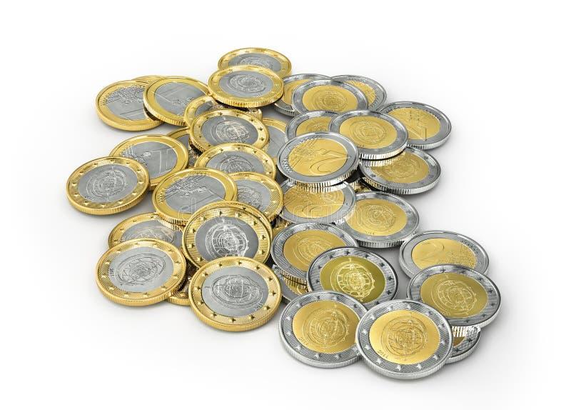 在白色背景的欧洲硬币 库存例证