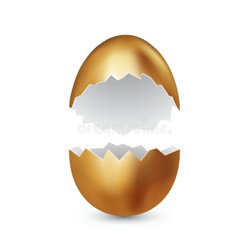 在白色背景的残破的金黄复活节彩蛋 色的鸡蛋 破裂的金黄壳 概念愉快的复活节 文本的向量空间 向量例证