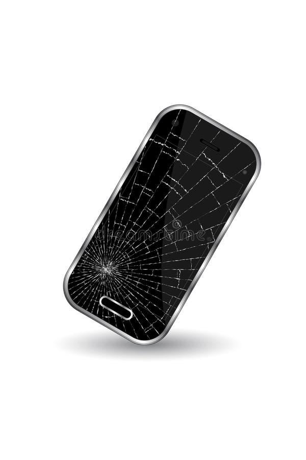 在白色背景的残破的黑手机 皇族释放例证