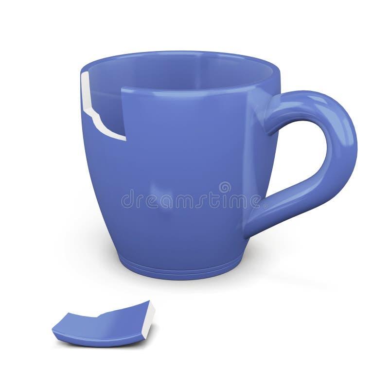 在白色背景的残破的蓝色杯子 3d翻译 向量例证