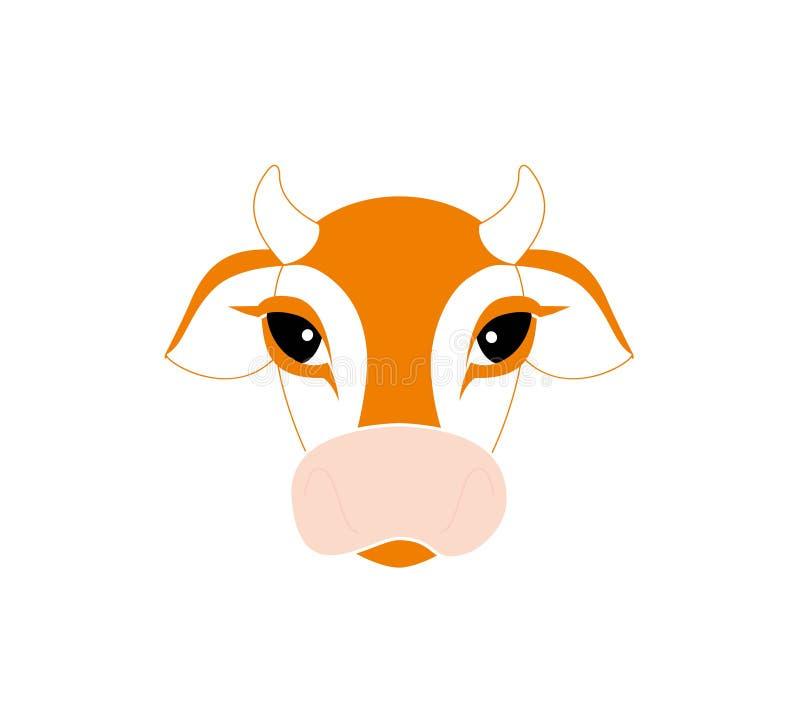 在白色背景的母牛平的象 7个动物动画片农厂例证系列 母牛头的传染媒介 库存例证