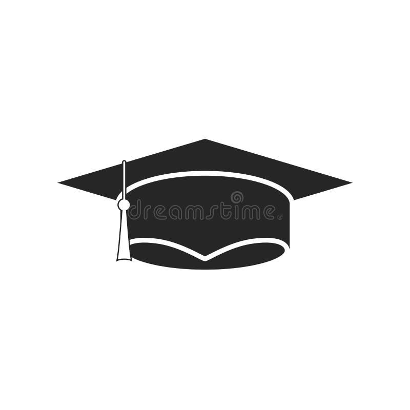 在白色背景的毕业盖帽平的象,任何场合的 向量例证