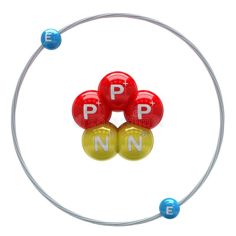 在白色背景的氦气(不稳定的同位素)原子 库存例证