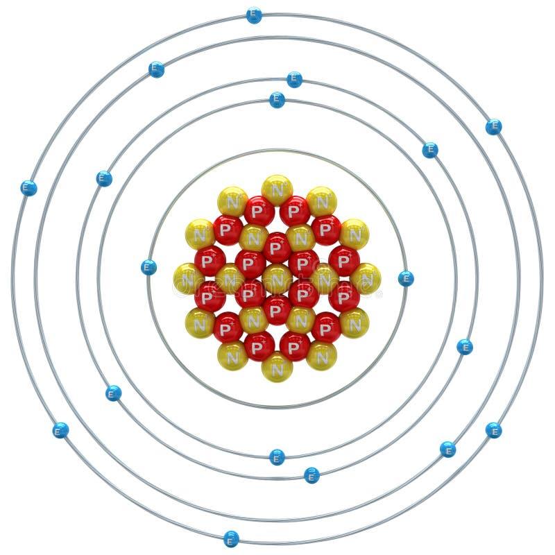 在白色背景的氩(不稳定的同位素)原子 库存例证