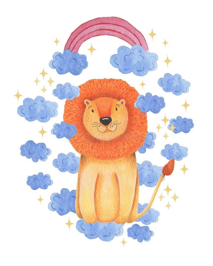 在白色背景的水彩例证动物逗人喜爱的狮子,彩虹,星,云彩 手凹道例证 看板卡s华伦泰 皇族释放例证