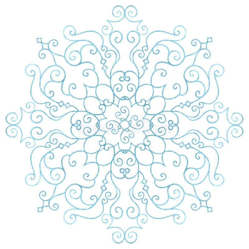 在白色背景的水彩手拉的美丽的蓝色雪花 皇族释放例证