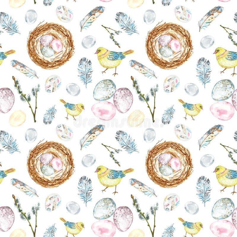 在白色背景的水彩春天复活节无缝的样式与小鸡鸟,鸡蛋,羽毛 向量例证