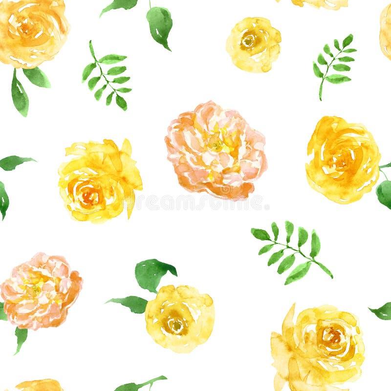 在白色背景的水彩春天黄色花卉无缝的样式 明亮的花重复印刷品 库存例证