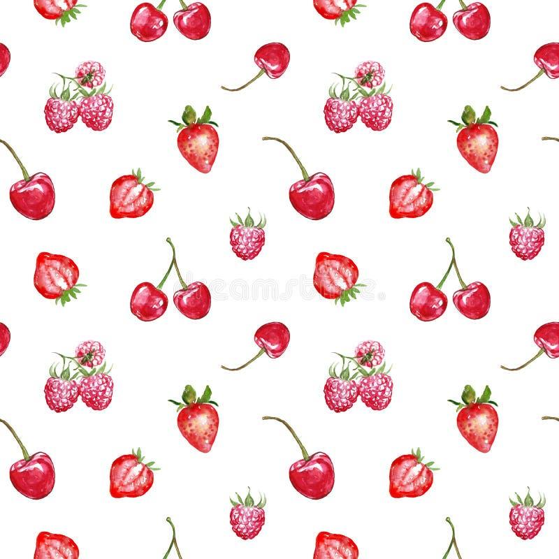 在白色背景的水彩红色莓果无缝的样式 新鲜的夏天果子打印 草莓,樱桃,rasberry 皇族释放例证