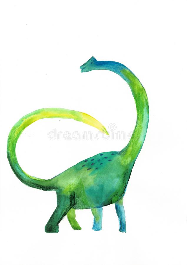 在白色背景的水彩绿色恐龙 儿童的图画 向量例证