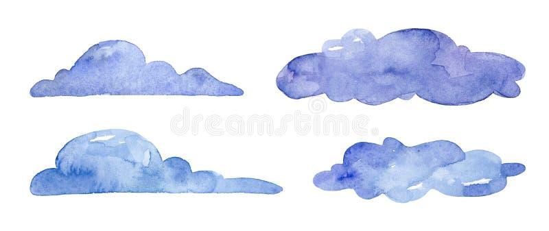 在白色背景的水彩蓝色云彩 皇族释放例证