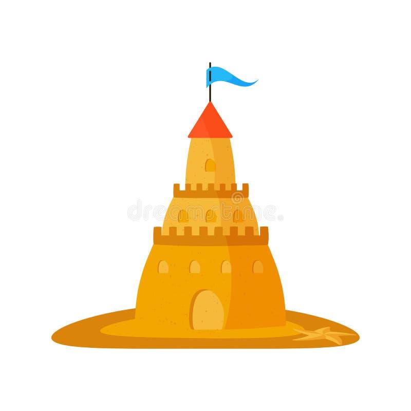 在白色背景的沙子城堡 r 皇族释放例证