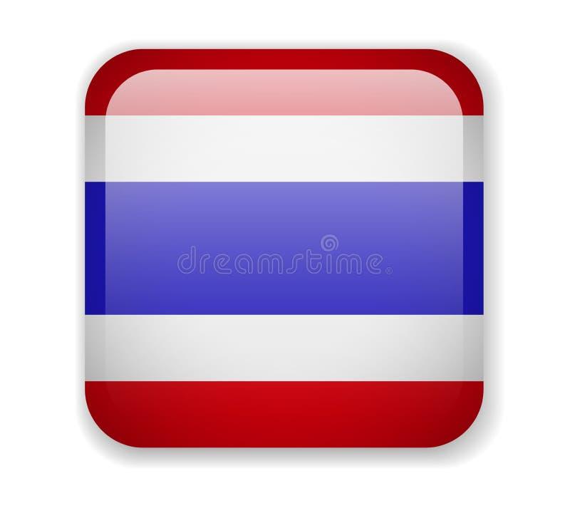在白色背景的泰国旗子明亮的方形的象 向量例证