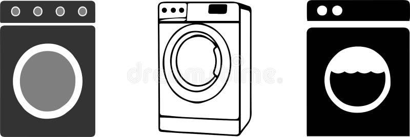在白色背景的洗衣机象 向量例证