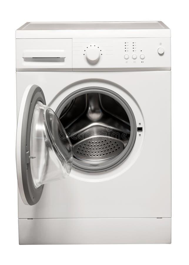 在白色背景的洗衣机 库存图片