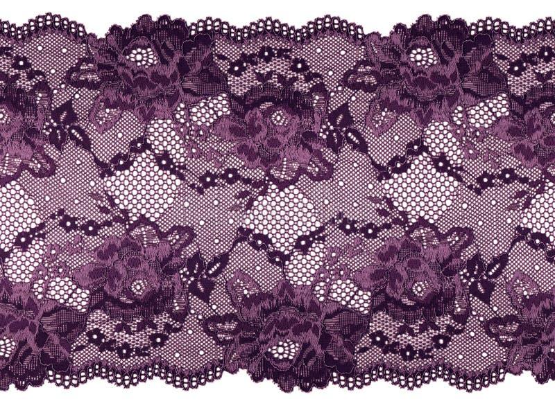 在白色背景的淡紫色有花边的小条 与花卉典雅的鞋带 免版税库存图片