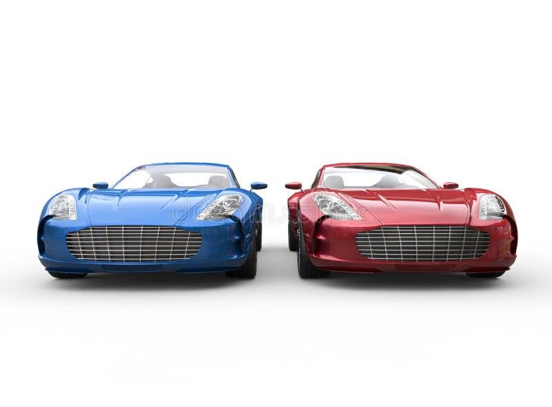 在白色背景的深蓝和红色汽车 免版税图库摄影