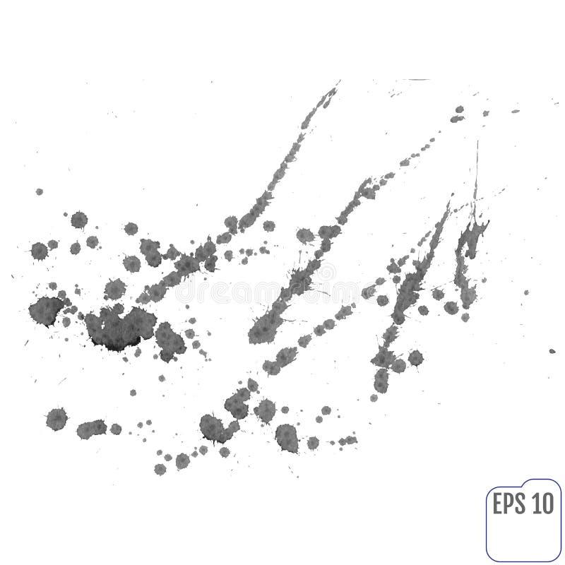 在白色背景的灰色污点 墨水污点 向量例证