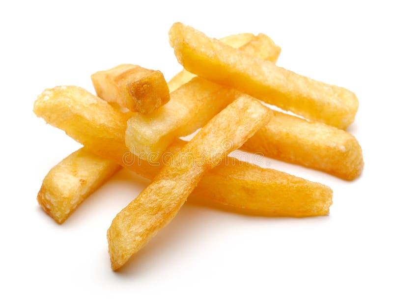 在白色背景的炸薯条土豆 库存图片