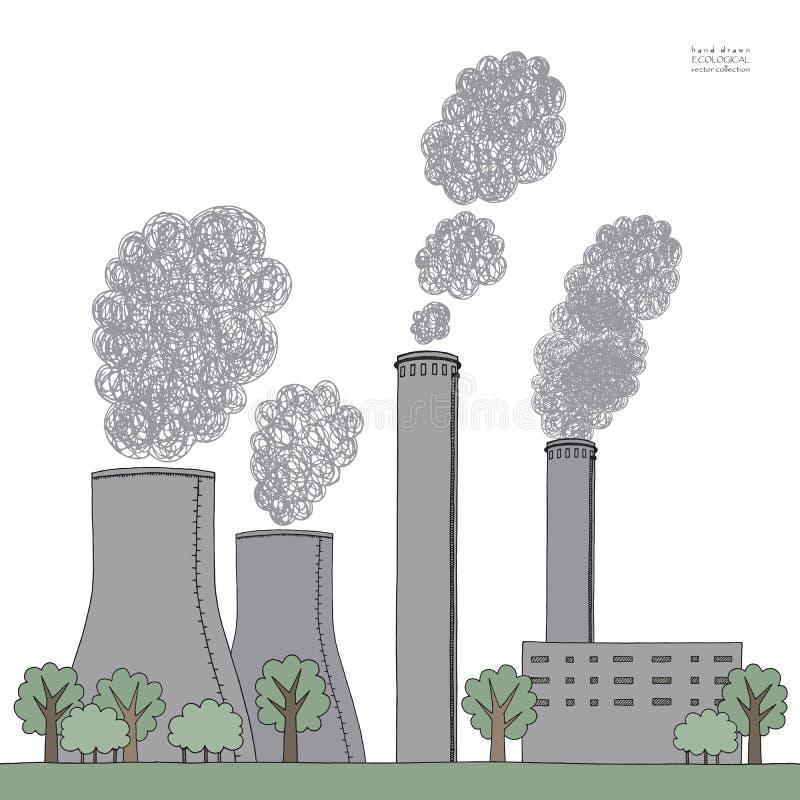在白色背景的烟窗 从工厂的发烟造成的大气污染的例证和植物用管道输送,管,树干 皇族释放例证