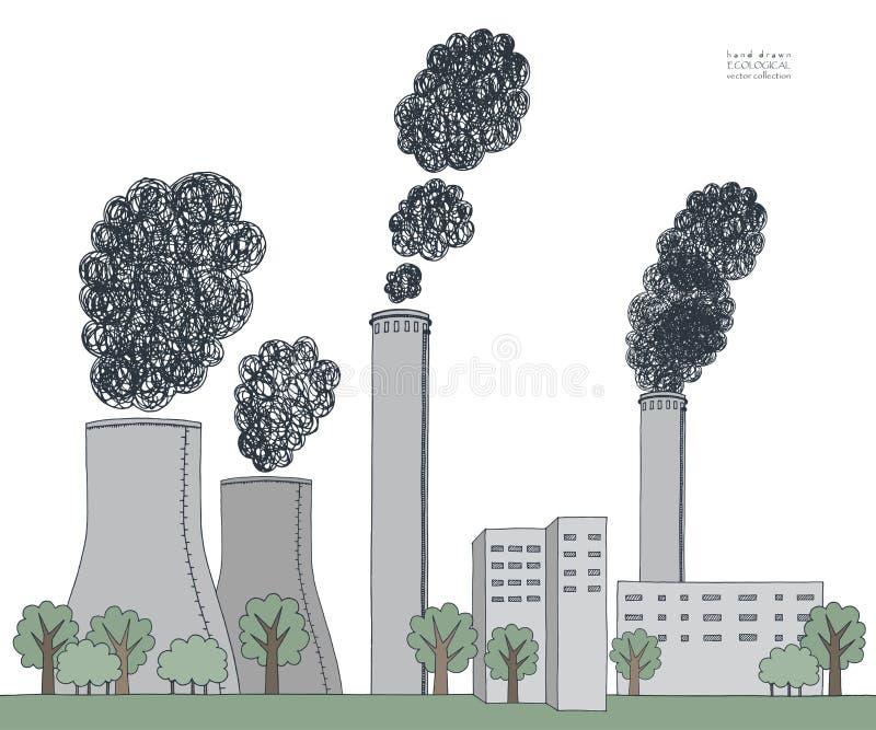 在白色背景的烟窗 从工厂的黑发烟造成的大气污染的例证和植物用管道输送,管 库存例证